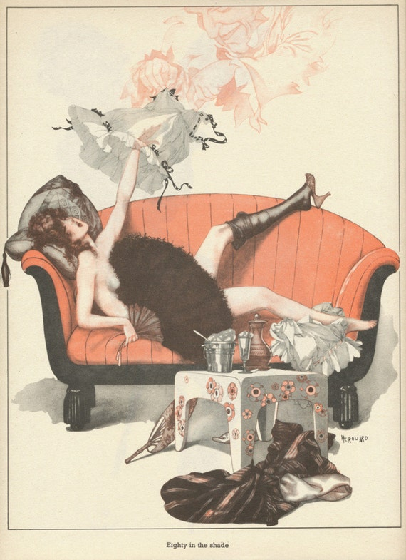 Vintage La Vie Parisienne Pin-Up Girl - Eighty In The Shade - Color Print Illustration