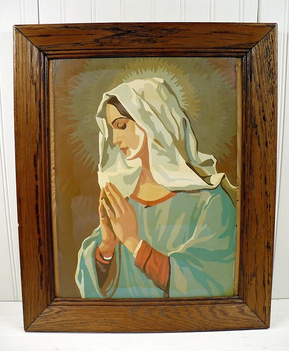 Vintage Paint By Number Painting Virgin Mary Wood Framed Religious