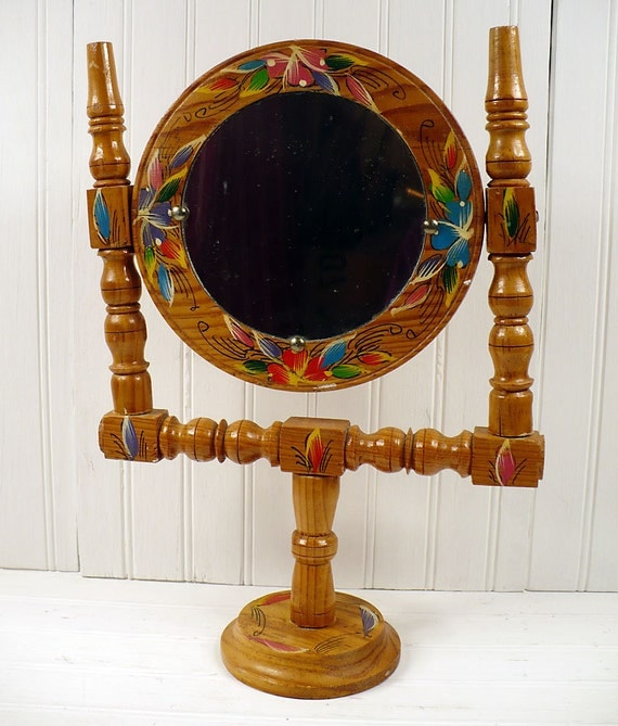 Vintage Vanity Makeup Mirror Floral Painted Wood Swivel Retro