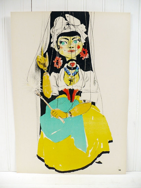 Vintage Marionette Color Lithograph Print - Serpina - Pierre Gauchet Puppet 1950