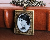Virginia Woolf - Famous Poet Photo Book Locket Necklace