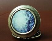 Winter Wonderland with Snow Scene - A Winter's Tale - Photo Locket Necklace - Wearable Art Locket
