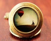 Penny Farthing - Whimsical Hot Air Balloon Art Locket Necklace - HeartworksByLori