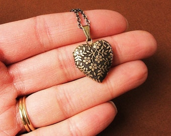 Forget Me Not - Tiny Heart Locket Necklace - The Perfect Stocking Stuffer - Mothers Day gift