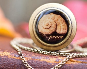 Peace- Photo Locket Necklace- Collaboration with Julie Chen of lifeverse