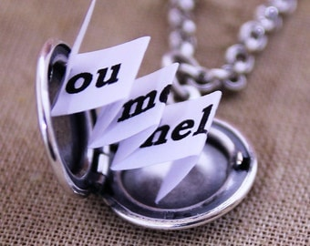 Tiny Charm Locket Necklace - You Had Me At Hello - Silver Edition