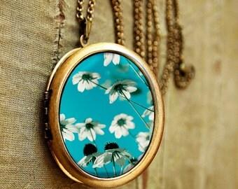 Photo Locket - Delicate - Flower Photography White and Turquoise Photo Locket Necklace