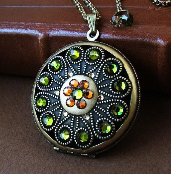 Brass Medallion Locket with Swarovski Crystal accents -Tuscany - Crystal Locket Necklace