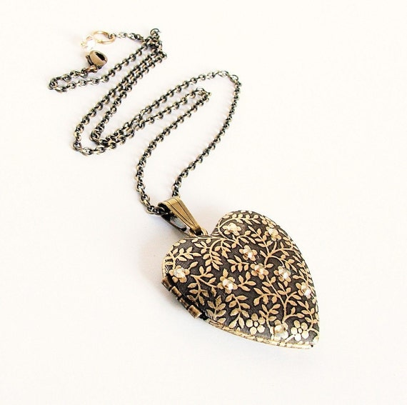 Forget Me Not Brass Locket - Bling Crystal Edition