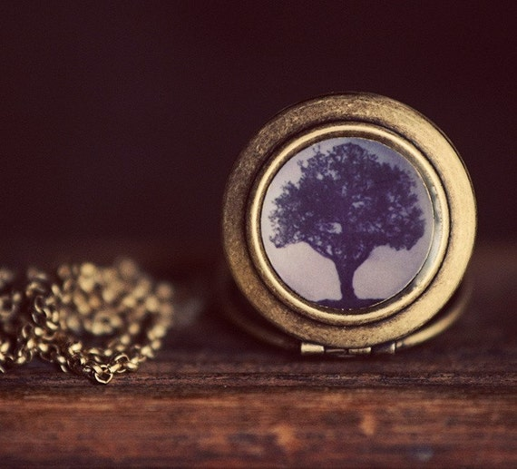 Photo Locket - Oak At Dawn - Mighty Radiant Orchid Purple Oak Tree In Morning Light Photo Locket Necklace - The Lukas Van Dyke Collection