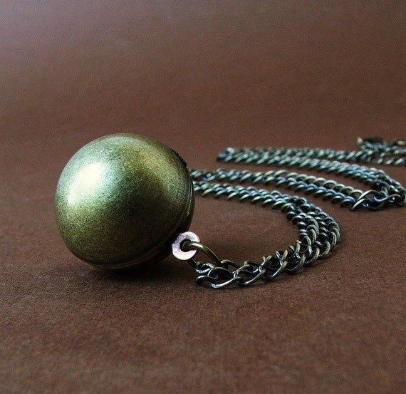 RESERVED for Cassandra - Vintage Brass Ball Locket Necklace - Plated Brass ox Finish - Special Price