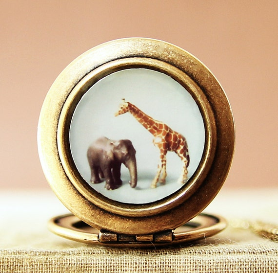 The Giraffe and The Elephant - Photo Locket Necklace