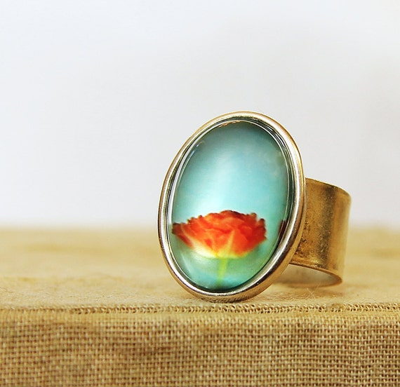 Photo Ring - Agua - Red Tulip Wearable Art Photo Ring