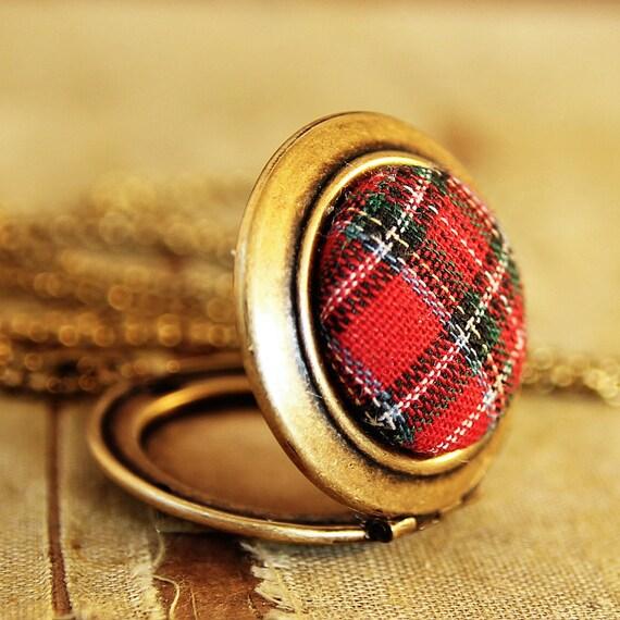 Red Plaid Locket - Vintage Red Plaid Button Locket Necklace