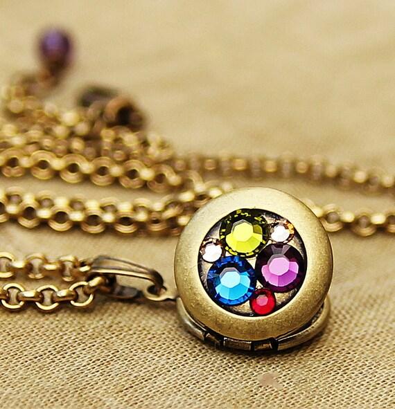 Spring Bouquet - Tiny Jeweled Treasure Locket - Miniature Locket with Swarovski Crystal Elements
