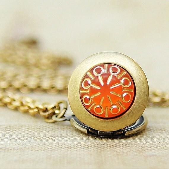 RESERVED for Joy - Tangerine Splash - Teeny Tiny Mini Locket Necklace