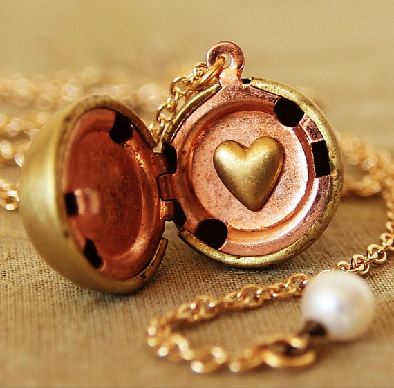From The Heart - Vintage Ball Locket Necklace - with Secret Love Heart Inside and Pearl accent