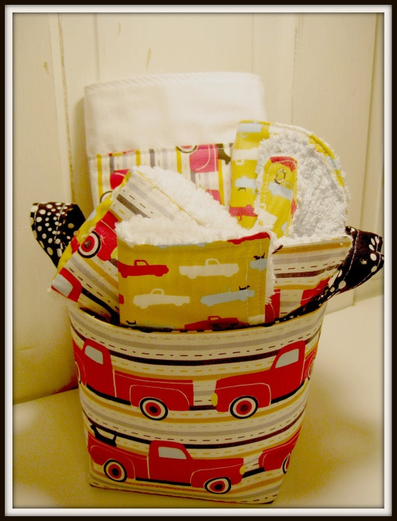 Trucks and Pooches Baby Gift Basket--- Burp Cloth, Bib, Rattle Block, Wash Cloth Set and Fabric Basket