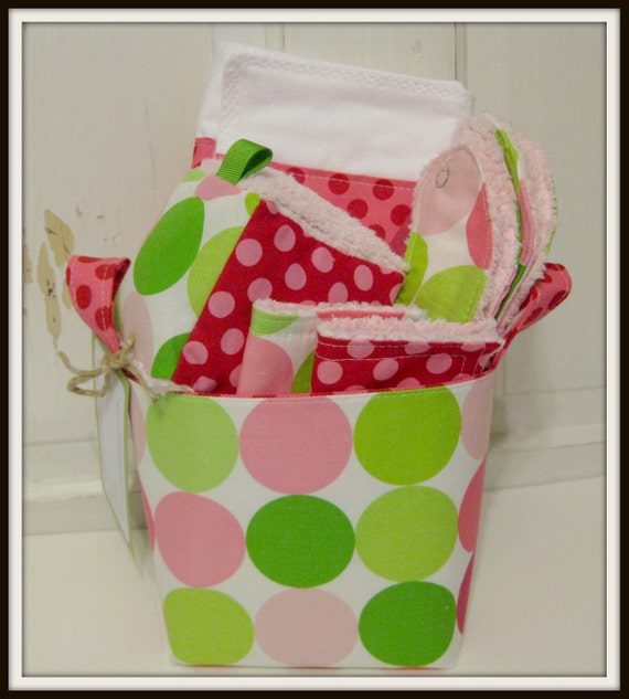 Sorbet Disco Dots Baby Gift Basket--- Burp Cloth, Bib, Rattle Block, Wash Cloth Set and Fabric Basket
