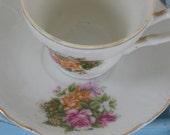 Vintage Shabby Cottage Chic Demi Tasse Cup and Saucer Set of 2 - Japan