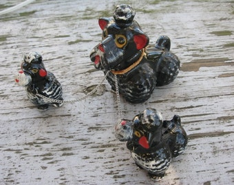 Vintage 1950s Trio of Redware Black Poodle Dog Figurines Family Mama and two Puppies Japan
