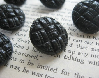 Vintage Black Glass Pressed Quilt Design Buttons Set of 10