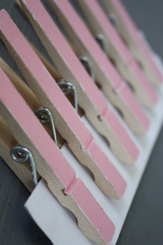 Set of 6 Shabby Cottage Chic Pink ClothesPin Clips