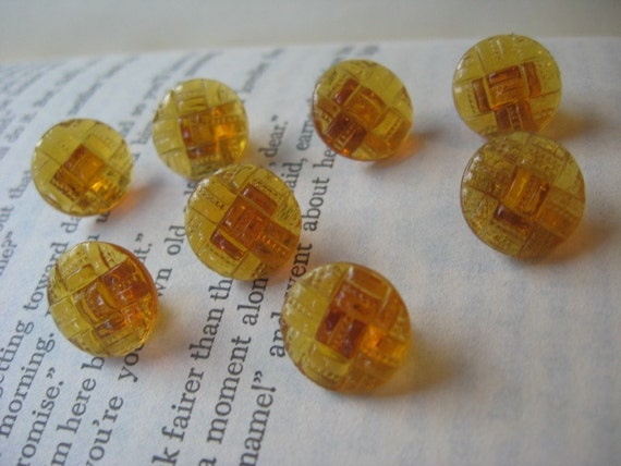 Vintage Glass Round Amber Pressed Quilt Design Buttons Set of 15