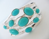Silver Turquoise Cuff - Bracelet Wide Statement  Elegant Jewelry Aqua Tiffany Robin Blue Egg Rare Resort Summer Graduation Gift Bridal Teal