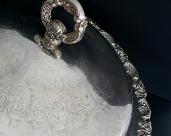 LARGE CASSEROLE  with Lid {Silver Plated -Oneida Footed Serving Dish Casserole Bowl with Ornate Lid Silveplated Platter Roses Floral Heavy}