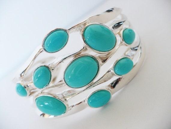 Silver Turquoise Cuff - Bracelet Wide Statement  Elegant Jewelry Aqua Tiffany Robin Blue Egg Rare Resort Summer Graduation Gift Bridal Teal
