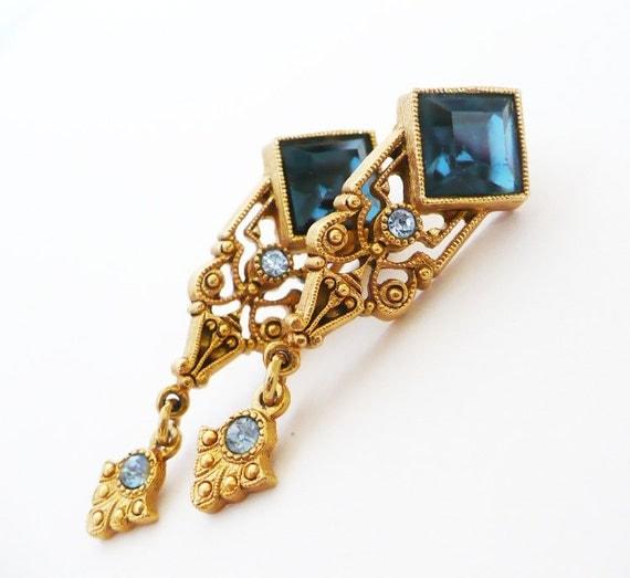 Art Deco Sapphire Earrings - Vintage Blue Crystal Rhinestone Gold Pierced Earrings Art Nouveau Hollywood Regency Bridal Jewelry Wedding