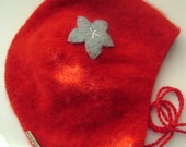 Cashmere Infant Pilot Cap- Red with Blue Flower, size 3-6 months