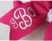 Monogrammed Boutique Hair Bow 3 Initial / Three Letter Solid Color 4 inch Embroidered Over 100 colors available (listing for one bow)