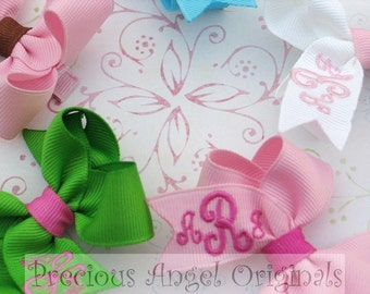 Monogrammed / Personalized Set of 3  three Initial / Letters Solid Color Toddler / Large Baby Embroidered Hair Bows Bow