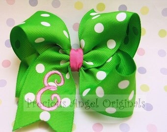 Monogrammed / Embroidered Boutique 4 inch Hair Bow Hairbow with a Single Initial/Letter (listing for one bow) Over 100 colors available.