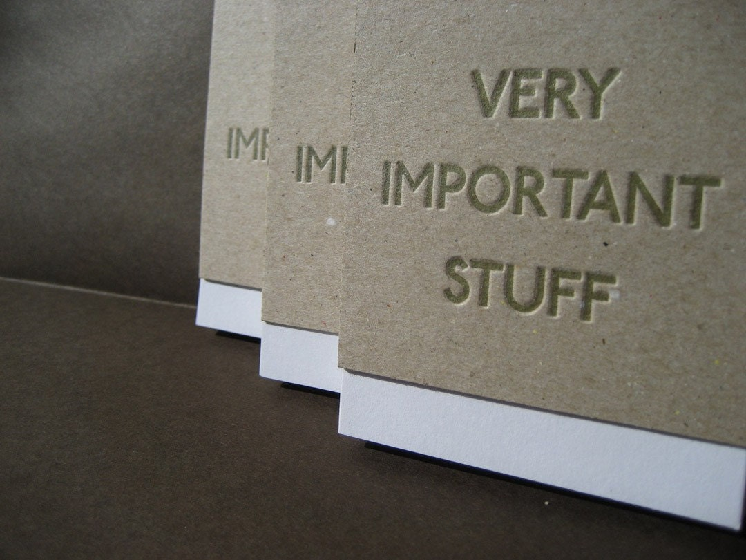 very important stuff letterpressed blank journal