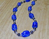 Isis -- Pearl, Moonstone, and Blue Scarab Beaded Necklace