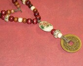 Truth in Nature -- Chinese Porcelain, Wood, and I Ching Coin Beaded Necklace
