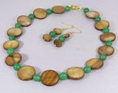 Tellus Mater -- Shell and Aventurine Beaded Necklace and Earrings Set