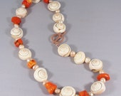 La Sirene Necklace -- Shell, Pearl, and Coral