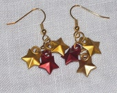 Red and Gold Gryffindor Stars Earrings