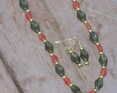 Renaissance Lady -- Maroon, Gold, and Olive Green Czech Glass Beaded Necklace and Earring Set