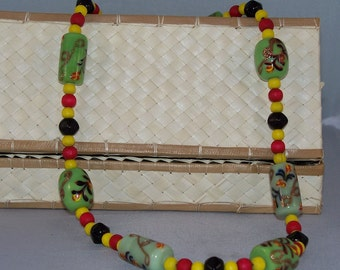 Summer Market -- Wood and Painted Indian Glass Beaded Necklace