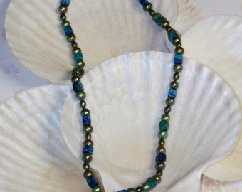 Aphrodite Cythera -- Pearl and Greek Ceramic Bead Necklace