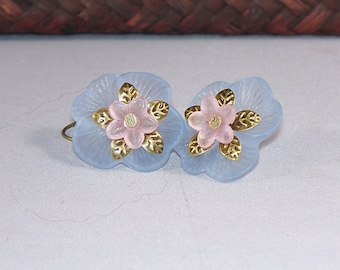 Flora -- Pale Blue and Pale Pink Lucite Flower Earrings