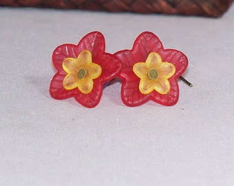 Flora -- Lavender, Red, and Yellow Lucite Flower Earrings