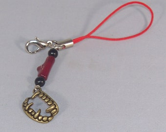 Vampire Kiss -- Obsidian, Coral, and Vampire Teeth Cell Phone Charm / Zipper Pull