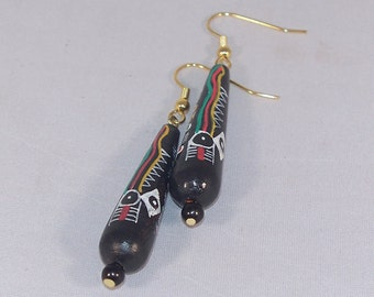Fiesta II -- Colourful Obsidian and Painted Ceramic Bead Earrings