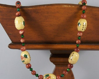 Oriental Tea Party -- Goldstone, Czech Glass, and Painted Ceramic Bead Necklace
